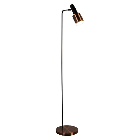 DENMARK 1 LIGHT FLOOR LAMP, BLACK, ANTIQUE COPPER