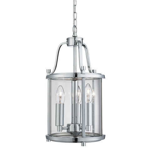 VICTORIAN LANTERN, 3 LIGHT CHROME, CLEAR GLASS