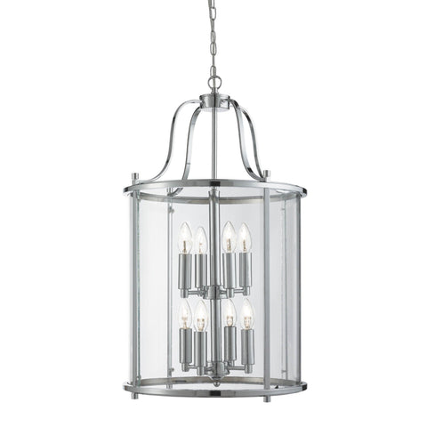 VICTORIAN LANTERN, 8 LIGHT CHROME, CLEAR GLASS