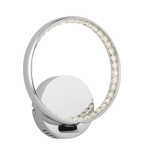 RINGS LED WALL BRACKET, CHROME, CLEAR CRYSTAL