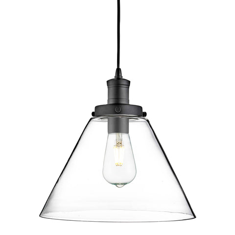 PYRAMID 1 LIGHT PENDANT, MATT BLACK, CLEAR PYRAMID GLASS SHADE