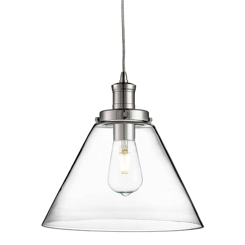 PYRAMID 1 LIGHT PENDANT, CHROME, CLEAR PYRAMID GLASS SHADE