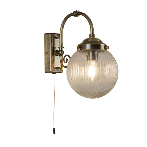 BELVUE 1 LIGHT BATHROOM IP44 WALL LIGHT, CLEAR GLOBE SHADE, ANTIQUE BRASS