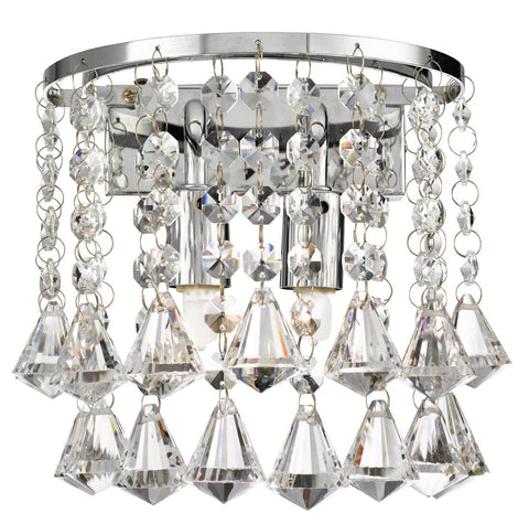 HANNA CHROME 2 LIGHT ROUND WALL BRACKET - PYRAMID DROPS
