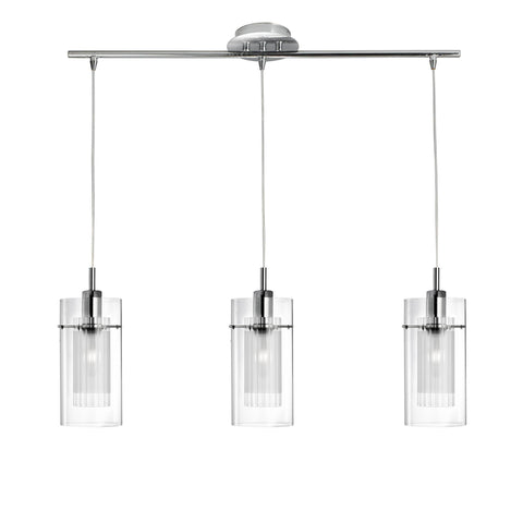 DUO I - CHROME 3 LIGHT BAR FITTING - DOUBLE GLASS