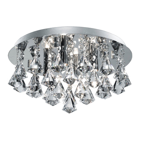 HANNA 4 LIGHT CHROME CRYSTAL FITTING PYRAMID DROP G9