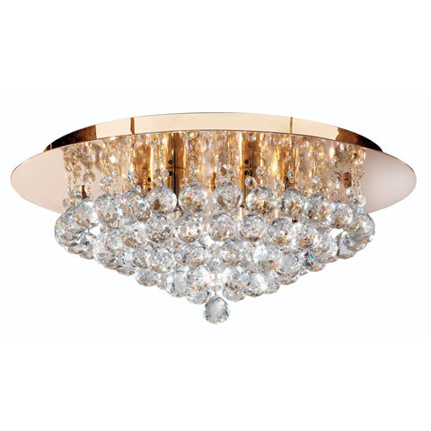 HANNA 6 LIGHT GOLD ROUND FLUSH CLEAR CRYSTAL BALLS