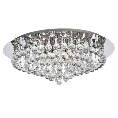 HANNA 8 LIGHT CHROME FLUSH CLEAR CRYSTAL BALLS