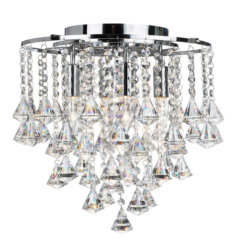 DORCHESTER - 4 LIGHT FLUSH CEILING, CHROME WITH CLEAR CRYSTAL BUTTONS & PYRAMID DROPS