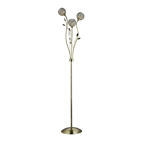 BELLIS II - 3 LIGHT FLOOR LAMP, ANTIQUE BRASS, CLEAR GLASS DECO SHADE