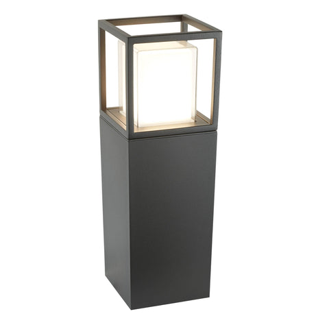 OHIO OUTDOOR LED POST (45cm Height), DARK GREY, OPAL WHITE/CLEAR DIFFUSER