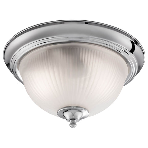 AMERICAN DINER - 2LT IP44 CEILING FLUSH, CHROME, ACID GLASS