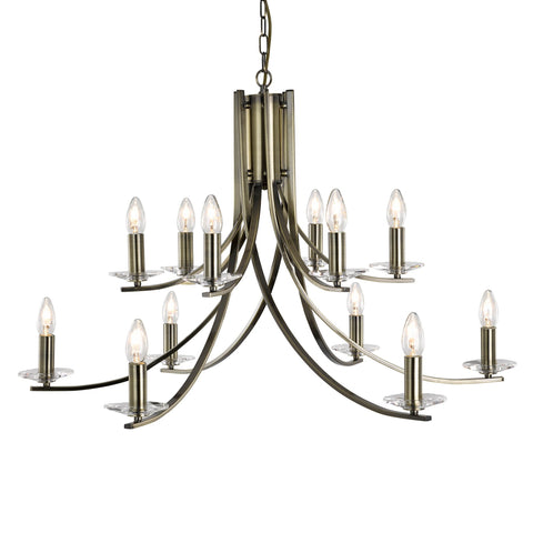 ASCONA - 12 LIGHT CEILING, ANTIQUE BRASS TWIST FRAME WITH CLEAR GLASS SCONCES