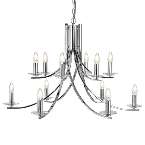 ASCONA - 12 LIGHT CEILING, CHROME TWIST FRAME WITH CLEAR GLASS SCONCES