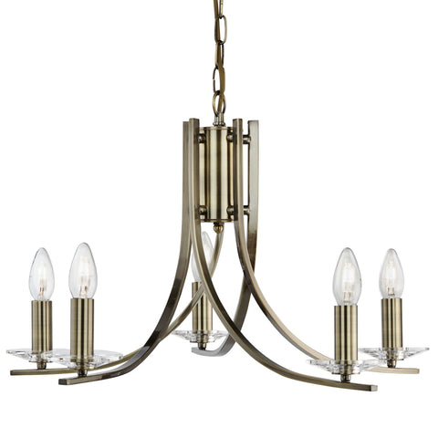 ASCONA - 5 LIGHT CEILING, ANTIQUE BRASS TWIST FRAME WITH CLEAR GLASS SCONCES