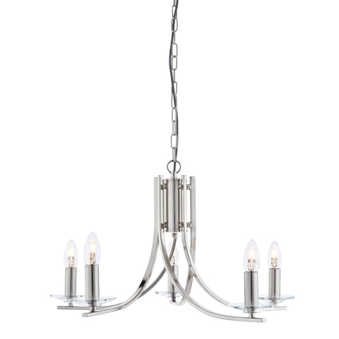 ASCONA - 5 LIGHT CEILING, SATIN SILVER TWIST FRAME, CLEAR GLASS SCONCES