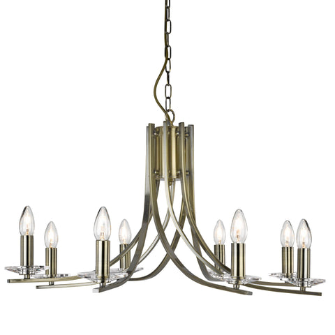 ASCONA - 8 LIGHT CEILING, ANTIQUE BRASS TWIST FRAME WITH CLEAR GLASS SCONCES
