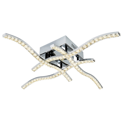 ANSON 4 ARM LED CEILING FLUSH, CHROME, CLEAR CRYSTAL TRIM