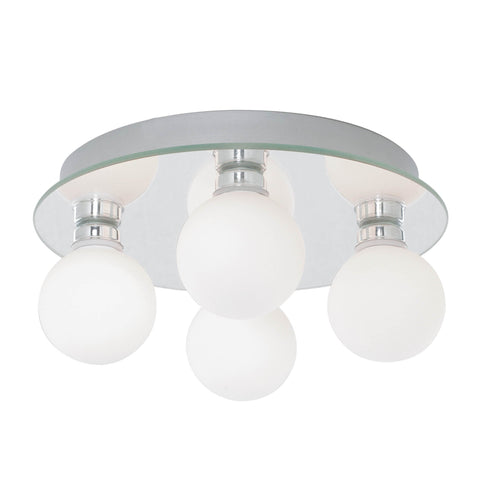 GLOBAL BATHROOM - IP44 (G9 LED) 4 LIGHT CEILING, OPAL GLASS, CHROME