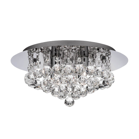 HANNA BATHROOM - IP44 (G9 LED) 4 LIGHT CHROME FLUSH CRYSTAL BALLS