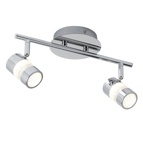 BUBBLES EFFECT IP44 LED 2 LIGHT SPOT BAR - CHROME & ACRYLIC SHADE