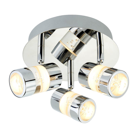 BUBBLES EFFECT IP44 LED 3 LIGHT ROUND SPOT CHROME & ACRYLIC SHADE