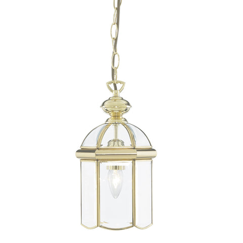 LANTERN POLISHED BRASS BEVELLED GLASS DOMED 1 LIGHT