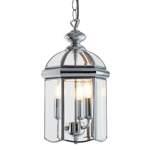 LANTERN CHROME BEVELLED GLASS  DOMED 3 LIGHT