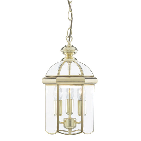LANTERN POLISHED BRASS BEVELLED GLASS DOMED 3 LIGHT