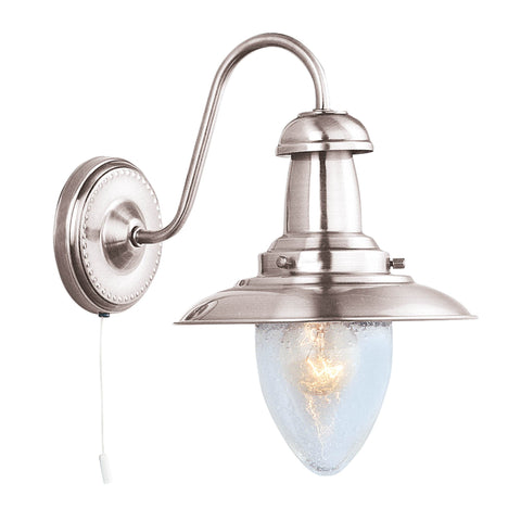 FISHERMAN SATIN SILVER WALL LIGHT IP21