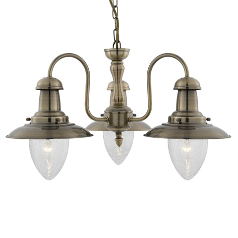 FISHERMAN - 3 LIGHT CEILING, ANTIQUE BRASS WITH SEEDED GLASS SHADES