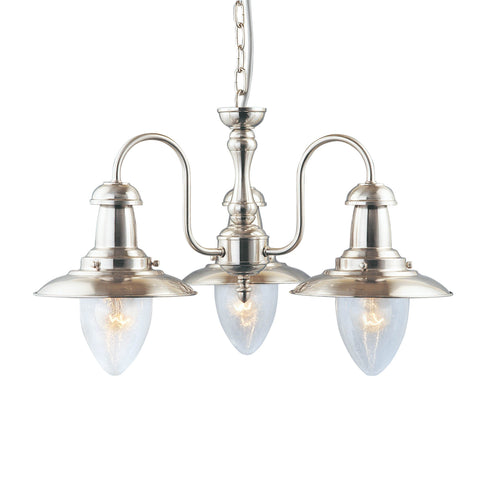 FISHERMAN - 3 LIGHT CEILING, SATIN SILVER WITH SEEDED GLASS SHADES