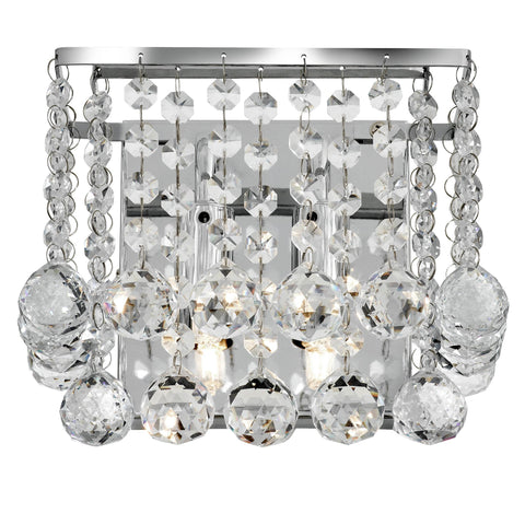 HANNA 2 LIGHTCHROME SQUARE WALL BRACKET - CLEAR CRYSTAL BALL