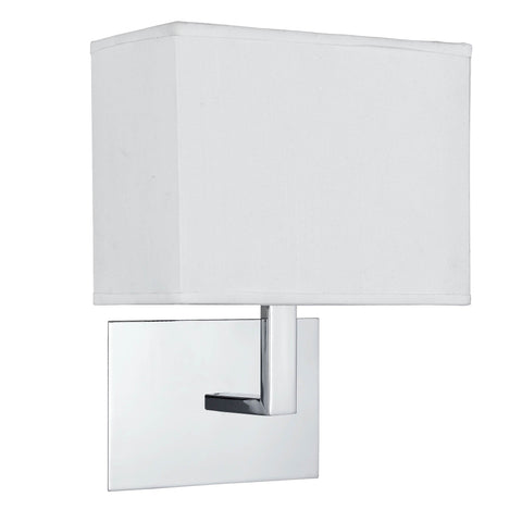 WALL LIGHT CHROME - WHITE RECTANGLE SHADE