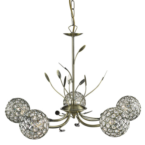 BELLIS II - 5 LIGHT CEILING, ANTIQUE BRASS, CLEAR GLASS DECO SHADE