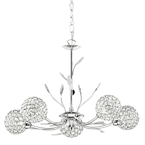 BELLIS II - 5 LIGHT CEILING, CHROME, CLEAR GLASS DECO SHADE