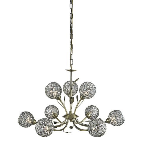 BELLIS II - 9 LIGHT CEILING, ANTIQUE BRASS, CLEAR GLASS DECO SHADE