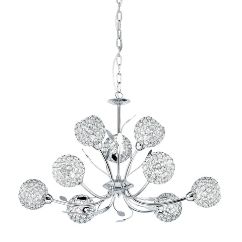 BELLIS II - 9 LIGHT CEILING, CHROME, CLEAR GLASS DECO SHADE
