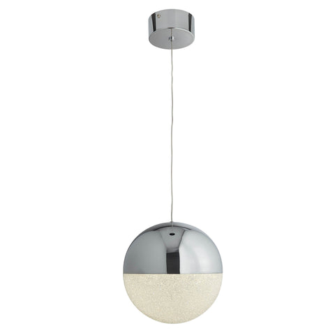 MARBLES 1 LIGHT LED GLOBE PENDANT, CRUSHED ICE EFFECT SHADE, CHROME