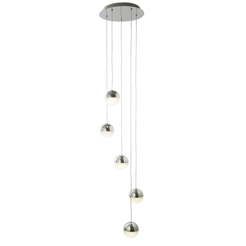 MARBLES 5 LIGHT LED GLOBE MULIT-DROP, CRUSHED ICE EFFECT SHADE, CHROME