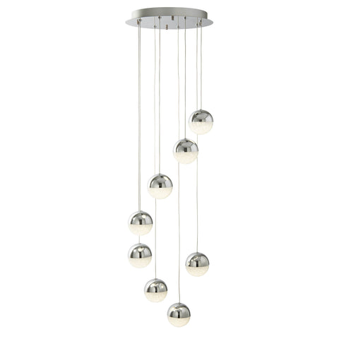 MARBLES 8 LIGHT LED GLOBE MULIT-DROP, CRUSHED ICE EFFECT SHADE, CHROME