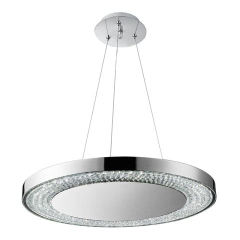 HALO - LED DECORATIVE PENDANT, CLEAR GLASS HALO RING & GLASS DECO, CHROME