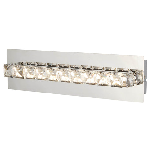 CLOVER LED WALL BRACKET, CLEAR CRYSTAL, CHROME