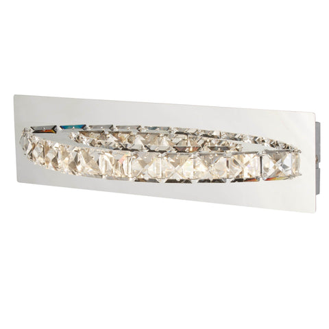 CLOVER LED CURVED WALL BRACKET, CLEAR CRYSTAL, CHROME