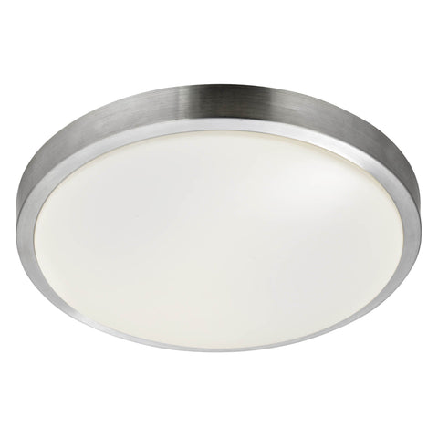 LED BATHROOM - IP44 1 LIGHT FLUSH, ALUMINIUM TRIM WITH ACRYLIC WHITE SHADE, DIA 33CM