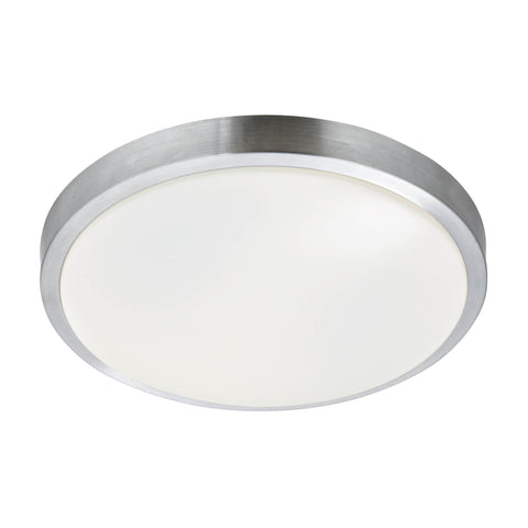 BATHROOM - IP44 1 LIGHT FLUSH, ALUMINIUM TRIM WITH ACRYLIC WHITE SHADE, DIA 33CM