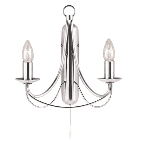MAYPOLE  2 LIGHT SATIN SILVER WALL LIGHT