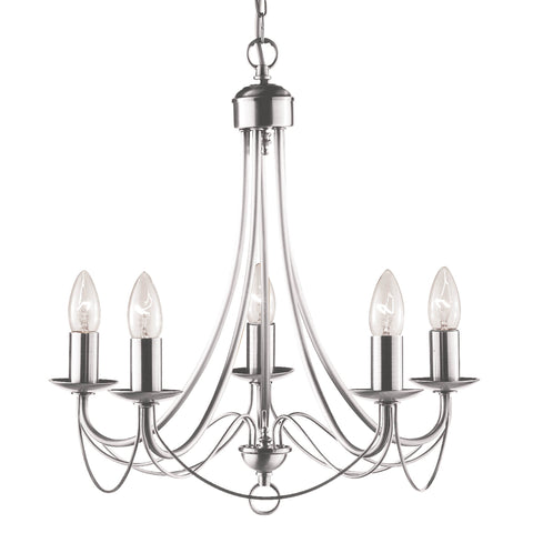 MAYPOLE  5 LIGHT SATIN SILVER CEILING