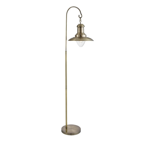 FISHERMAN FLOOR LAMP, ANTIQUE BRASS, CLEAR GLASS SHADE