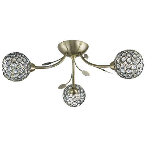 BELLIS II - 3 LIGHT CEILING SEMI-FLUSH, ANTIQUE BRASS, CLEAR GLASS DECO SHADE